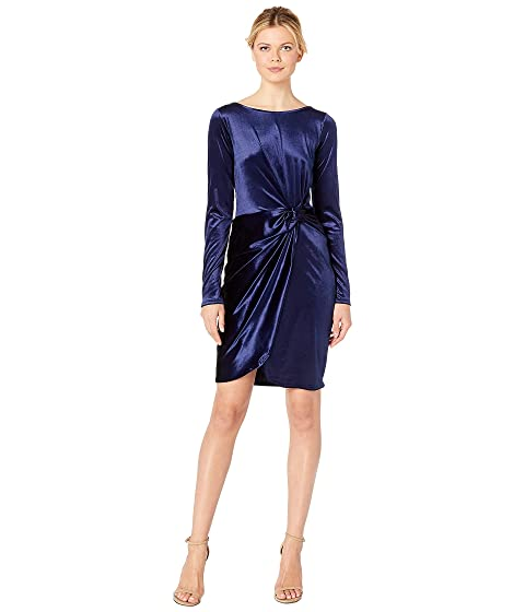 ae045b8c1bbd Three Dots Long Sleeve Stretch Panne Velvet Dress with Twist at ...