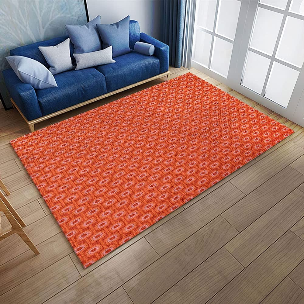 Personalized Burnt Orange Vivid Colored Charlotte Sales for sale Mall Retro Rug Style Pattern
