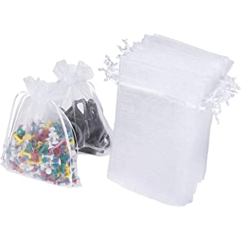 "WenTao 100PCS 4x6"" (10x15cm) Sheer Organza Bags, White Wedding Favor Bags With Drawstring, Premium Jewelry Pouches Party Festival Gift Bags Candy Bags"