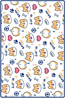 COSPROFE Soft Shiba Inu Throw Blanket Coral Fleece Corgi Print Daily Nap Quilt Kids Couch Bed Cartoon Dog Blanket (39.37''x39.37'')