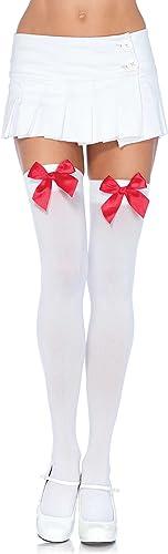Leg Avenue Women's Satin Bow Accent Thigh Highs