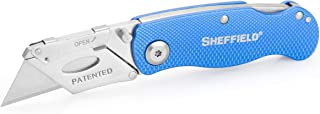 Sheffield 12113 One-Hand Opening Lock-Back Utility Knife, Blue