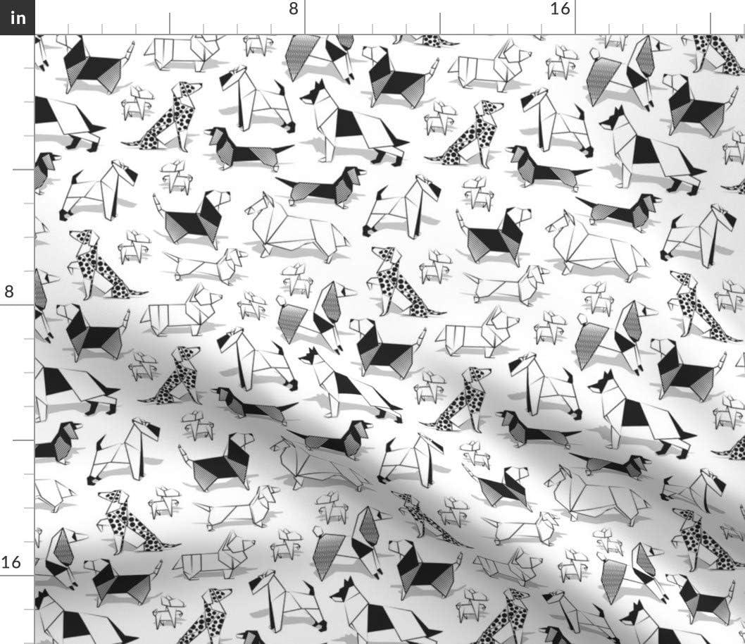 賜物 100%品質保証! Spoonflower Fabric - Small Scale White Chi Dogs Origami Coloring
