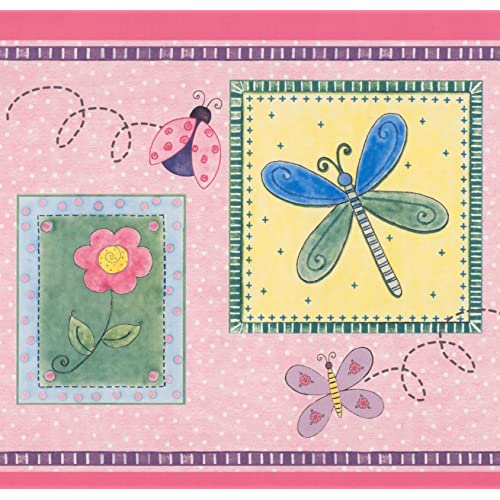 Stylized Bee Butterfly Flower Dragonfly Ladybug in Squares Purple Pink Yellow Kids Wallpaper Border Retro Design
