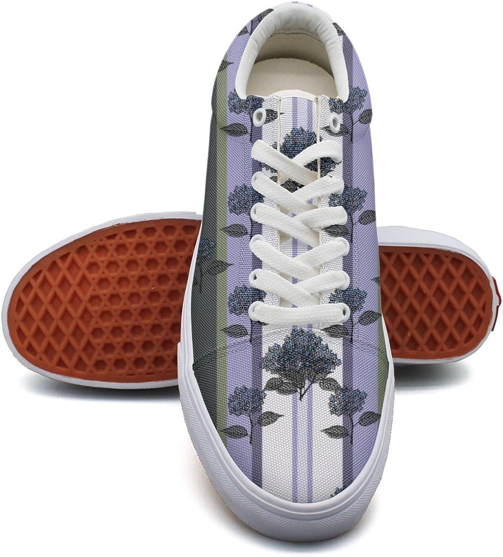 Feenfling Purple Bouquet Hydrangea Stripe Womens Latest Canvas Low Top Lightweight Sneakers shoes for Women's