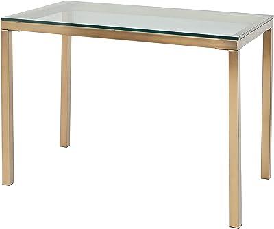 "The Mezzanine Shoppe Manhattan Modern Industrial Tempered Glass Desk Table, 42"", Gold"