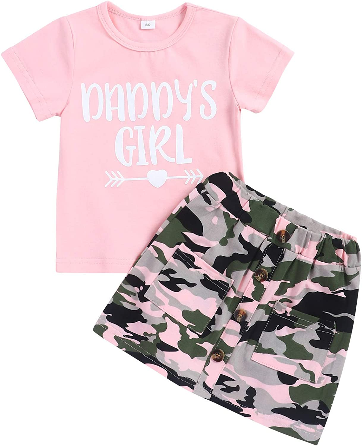 Toddler Baby Girl Funny Letter Clothes Daddy's Girl Tops with Camouflage Skirt 2PCS Summer Outfit Set