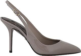 Dolce & Gabbana Gray Beige Patent Leather Slingbacks