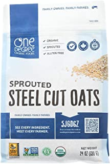 ONE DEGREE ORGANIC FOODS, Sprtd Oats, Og2, Steel Cut, Pack of 4, Size 24 OZ, (Gluten Free Vegan 95%+ Organic)