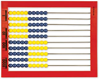 Learning Resources 2-Color Desktop Abacus, Red Frame, Color Coded, Math Concepts, Ages 5+