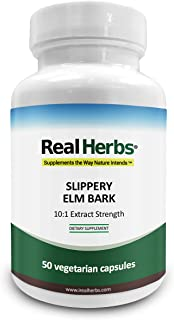 Real Herbs Slippery Elm Bark Extract-Derived from 7000mg of Slippery Elm Bark with 10:1 Extract Strength- Soothes Soreness...