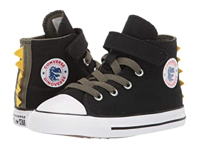 Converse Kids Chuck Taylor All-Star 1V Dino Spikes Hi (Infant/Toddler) (Black/Field Surplus/White) Girls Shoes
