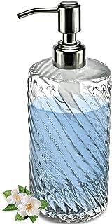 JASAI Diagonal Clear Glass Soap Dispenser with Rust Proof Stainless Steel Pump, Refillable 20-Oz Dish Soap Dispenser, Prem...