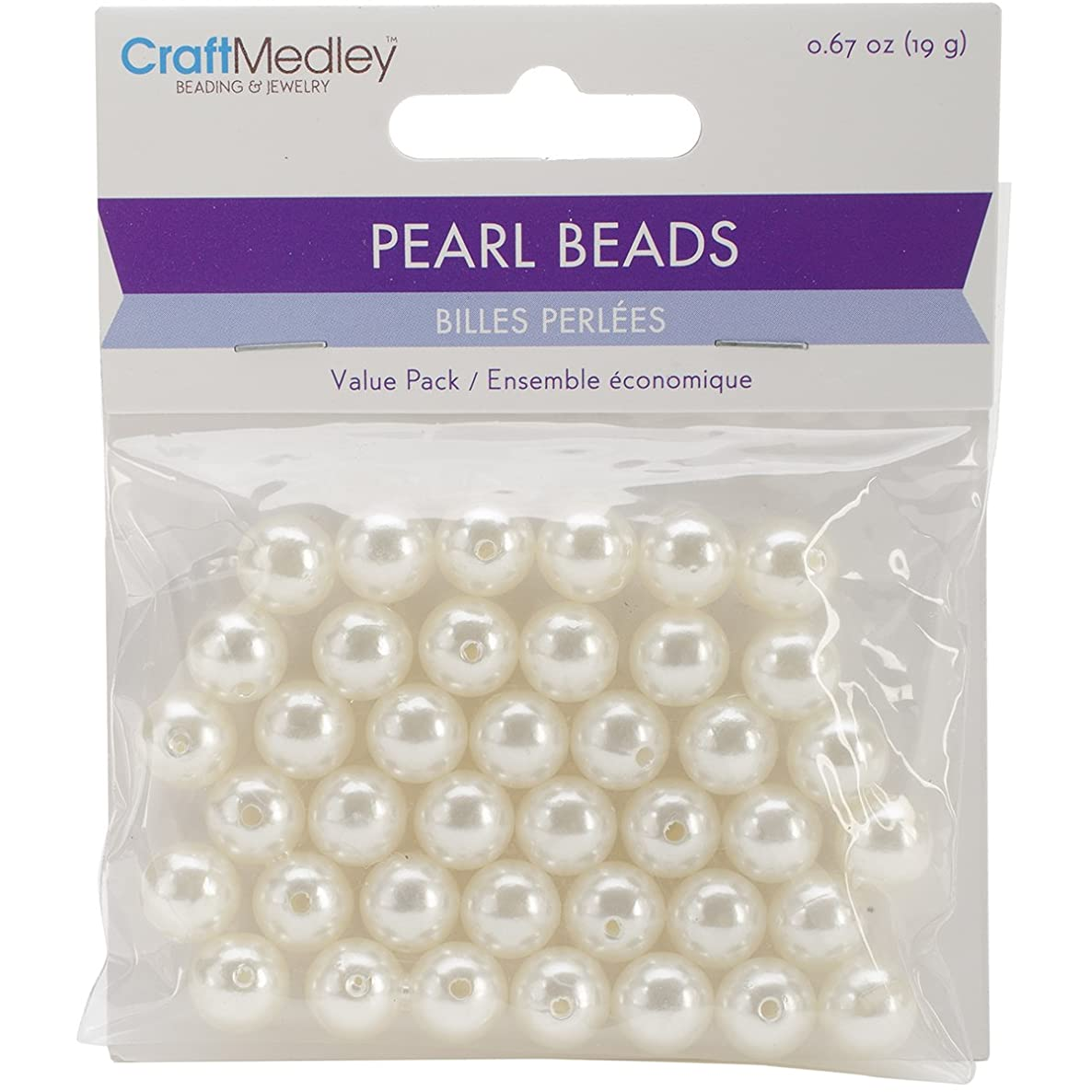 Multicraft Imports Pearl Beads (40 Pack), 10mm, Ivory