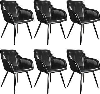 tectake 800879 Seis sillas de Comedor tapizadas en Piel sintética, Juego de sillas Elegantes para el salón, Sillones para la Cocina, Muebles de Interior (Negro-Negro)
