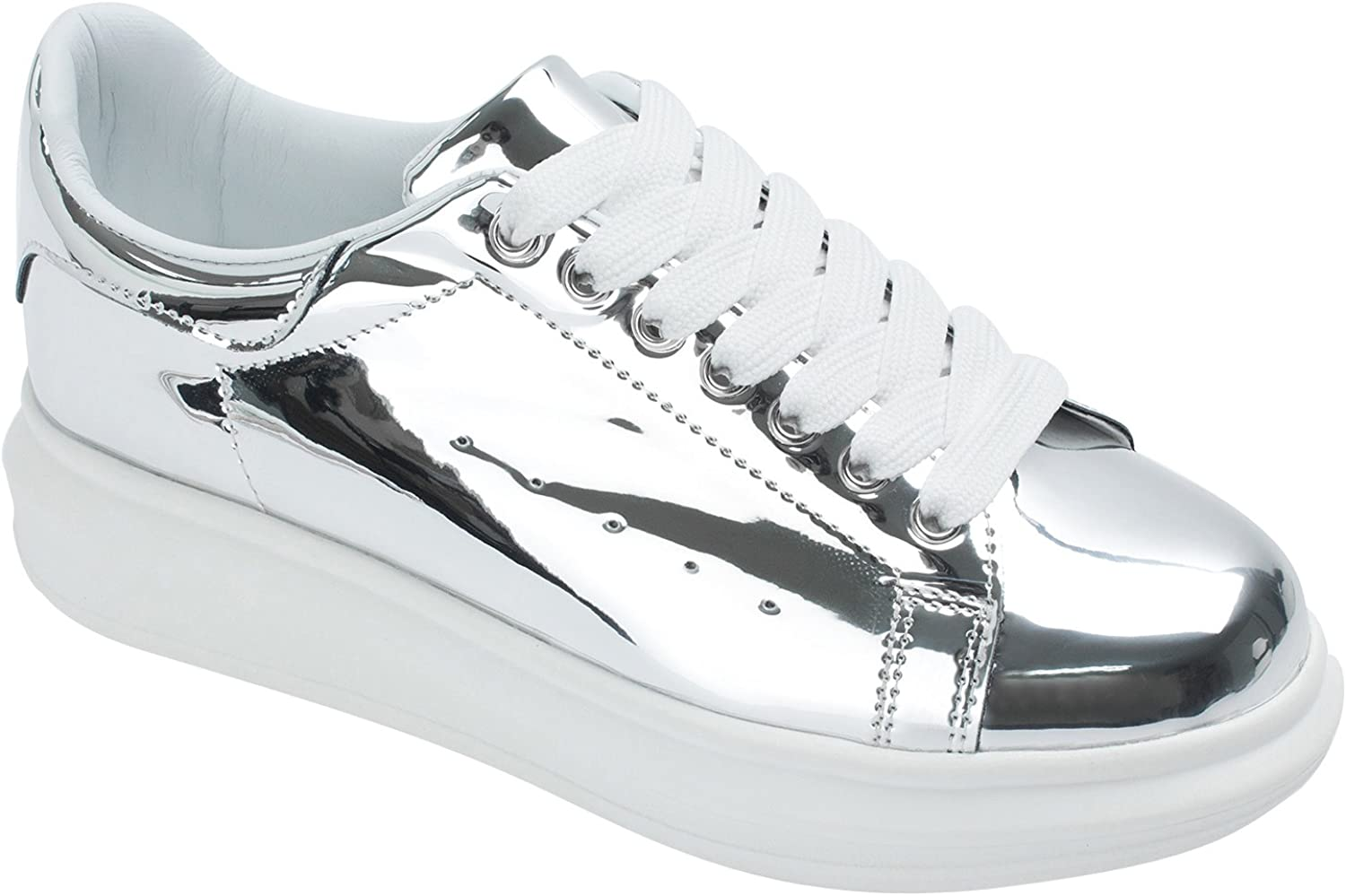 AnnaKastle Womens Faux Leather Lace up Sneaker