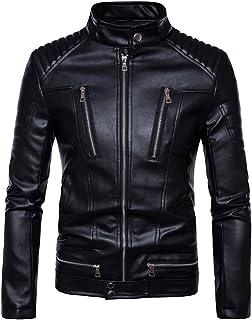 MISSMAO Mens Biker Leather Jacket Zip Up in Black