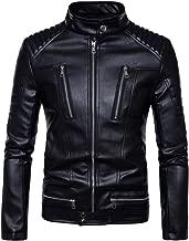 Rosemaryusid Mens Cool Spring Punk Slim Coat Leather Motorcycle Zip Jacket