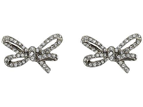Oscar de la Renta Pave Metal Bow Button P Earrings