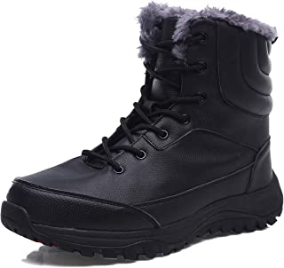 EXEBLUE Men's Waterproof Hiking Boot Winter Snow Boots Outdoor Mid Ankle Boots Lace up for Backpacking Working Adventure