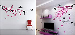 Decals Design 'Flower Branch with Birds' Wall Sticker (PVC Vinyl, 50 cm x 70 cm),Multicolour & 'Humming Birds and Blossom...