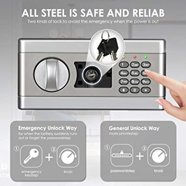 ETE ETMATE 1.0Cub Fireproof and Waterproof Security Box, Digital Combination Lock Safe with Keypad LED Indicator, for Cash Mo
