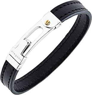 Citerna Rhodium and Gold Plated Sterling Silver Clasp, Men's Black Leather Bangle of Diameter 70 mm