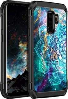 Galaxy S9 Plus Case, BENTOBEN Phone Cases for Samsung Galaxy S9 Plus 2 in 1 Dual Layer Luminous Noctilucent Flower Mandala in Galaxy Slim Hybrid Hard Cover Soft Rubber Bumper Shockproof Protective