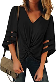 dd515680 LookbookStore Women's Casual Twist Knot Blouse Mesh Panel Bell Sleeve Shirt  Tops