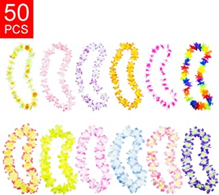 Hawaiian Ruffled Simulated Colorful Luau Silk Flower Leis Necklaces for Tropical Island Beach Theme Party Event, Birthday Supplies, Costume (50 Pack)