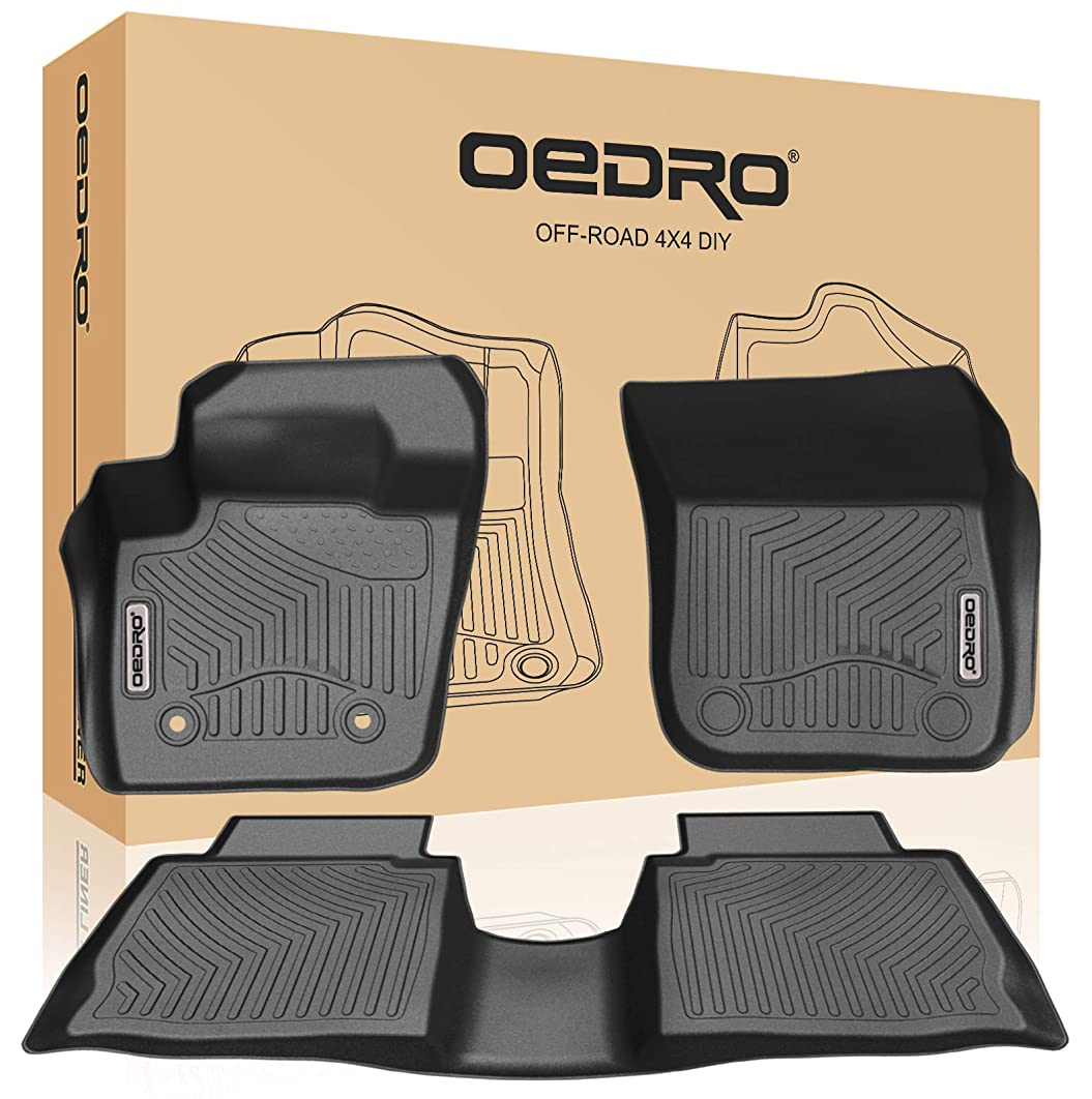 oEdRo Floor Mats Compatible for 2013-2016 Ford Fusion Energi/Titanium/Lincoln MKZ, Unique Black TPE All-Weather Guard Includes 1st and 2nd Row: Front, Rear, Full Set Liners