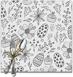 honshangmao Table Placemats Easter Seamless Doodle Pattern Hand Drawn Vector Image Set of 6 Square 12x12 Inch Placemats Table Pad Place Mat for Kitchen