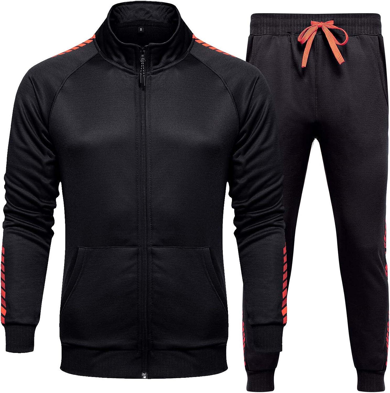 Aeneontrue Men's Tracksuit Athletic Sports Suit Set Casual Full Zip Jacket & Pants Sweatsuit
