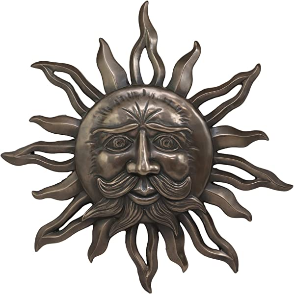 Ebros Celtic Mythology Belenos Celestial Solar Radiant Celtic Sun God Wall Hanging Decor 14 5 Diameter Figurine Home Decorative Sun Face Wall Plaque 3D Art Belenus The Shining God Sculpture