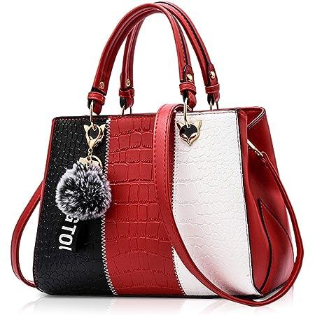 NICOLE & DORIS 2021 Neue Frauen Tasche Damen Leder Handtasche Mode Umhängetasche Mit Pompon abnehmbarem Schultergurt Handtasche Weinrot