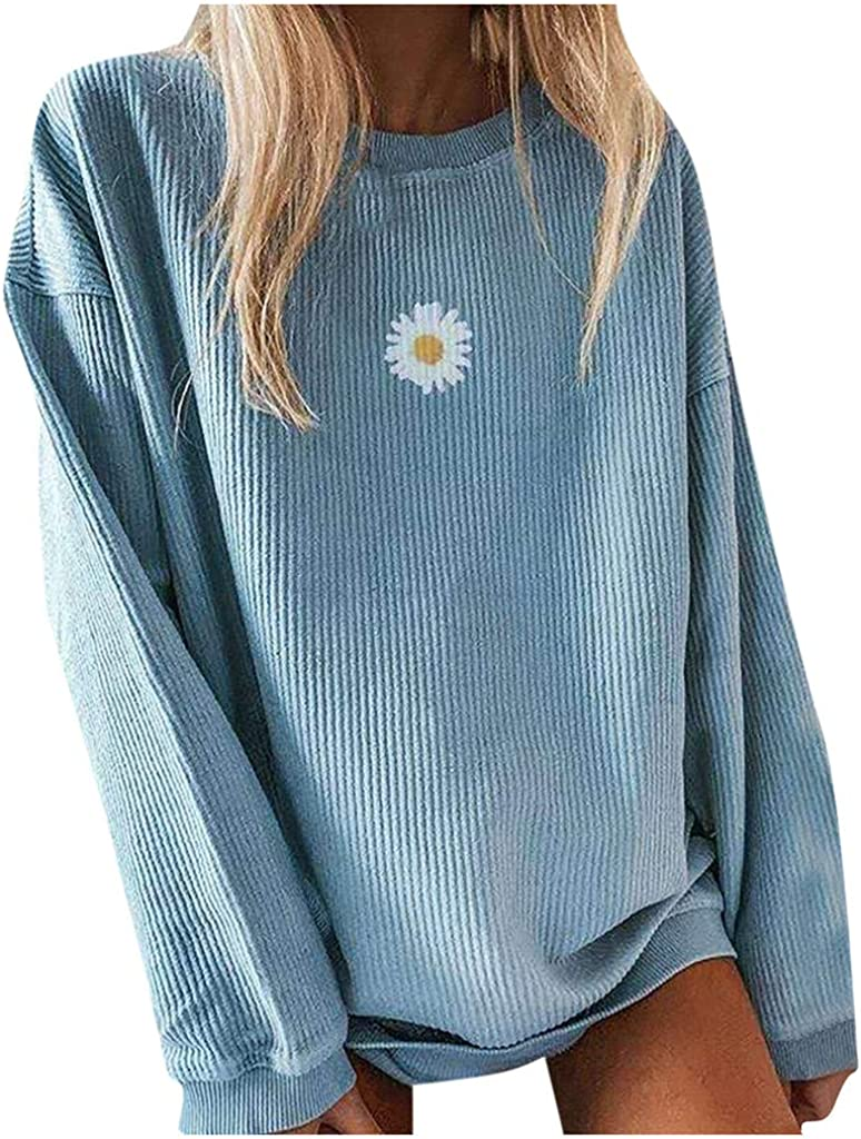 Women's Sweater Fashion Casual Applique Printed Crewneck Knit Long Sleeve Pullover Sweatshirt Tops Blouse
