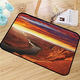 Landscape Inlet Outdoor Door Mat Fantastic Scenery of The River Between Rock Cliffs with Mystical Sky Image Catch Dust Snow and Mud Orange Yellow 18x30(IN)