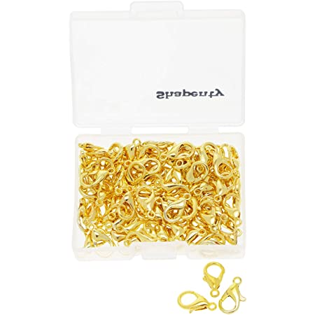 HSAN 100 pcs Curved Lobster Clasps Silver Plated Lobster Claw Clasps Findings Necklace DIY Fasteners for Jewelry Making
