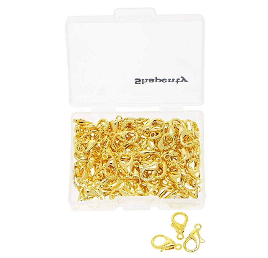 Shapenty Small Metal Alloy Lobster Claw Clasps Clip DIY Necklace Jewelry Finding Making Accessories Fastener Hook, 12mmx6mm, 100PCS (Gold) x628930373