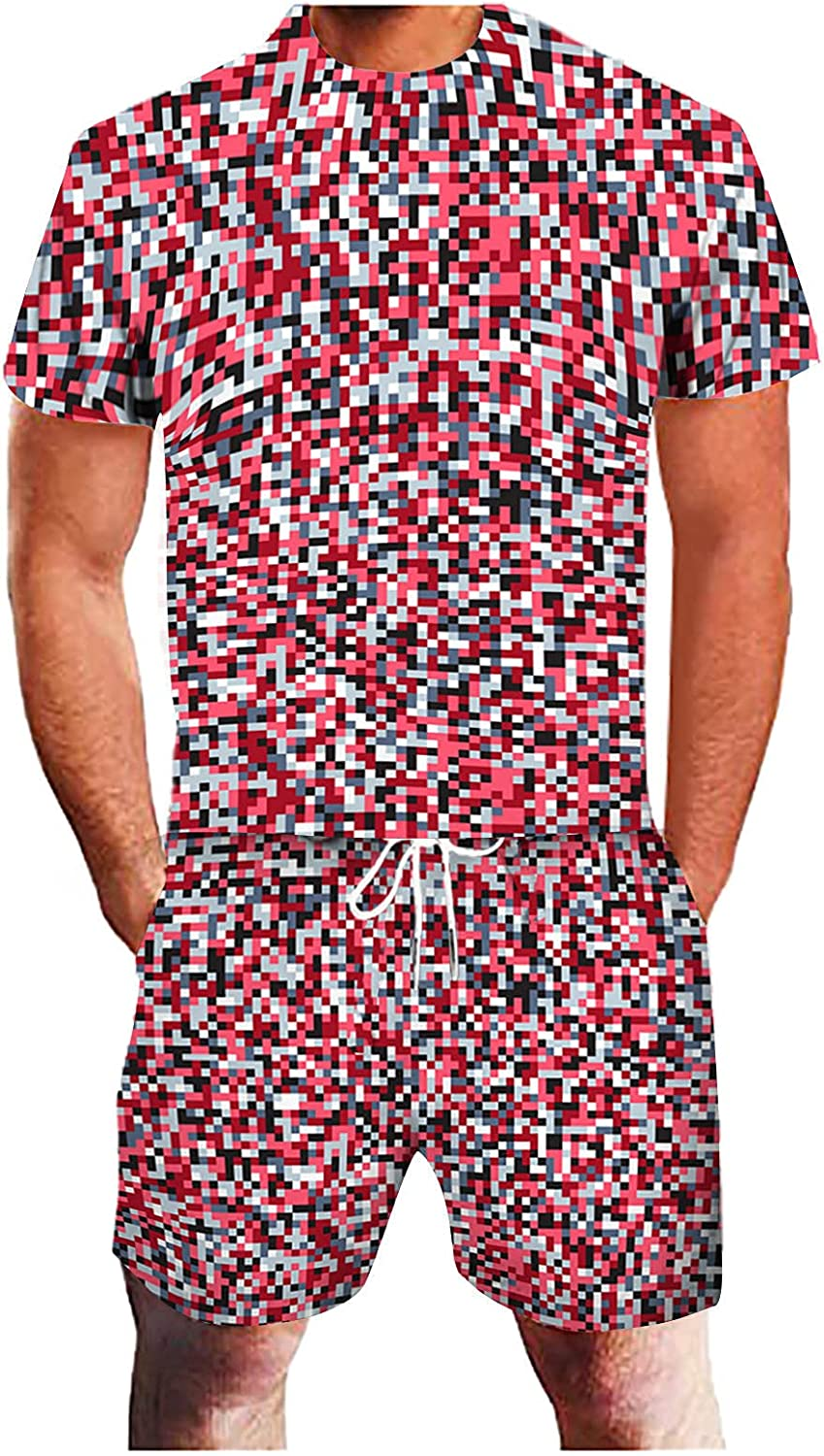 FUNEY Men's 3D Geometric Abstract Printed T-Shirt and Shorts Set Sports Tracksuit Casual Summer Athletic Suit 2PC Sweatsuits