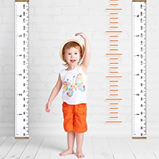 Childrens Wall Ruler SAMENY Growth Chart 200 cm x 20 cm Childrens Linen Scale White