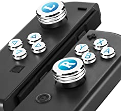 Epindon Joy-Con Assist Cap | Thumb Grips, Analog Caps with ABXY Direction Action Buttons Cover for Nintendo Switch- Silver
