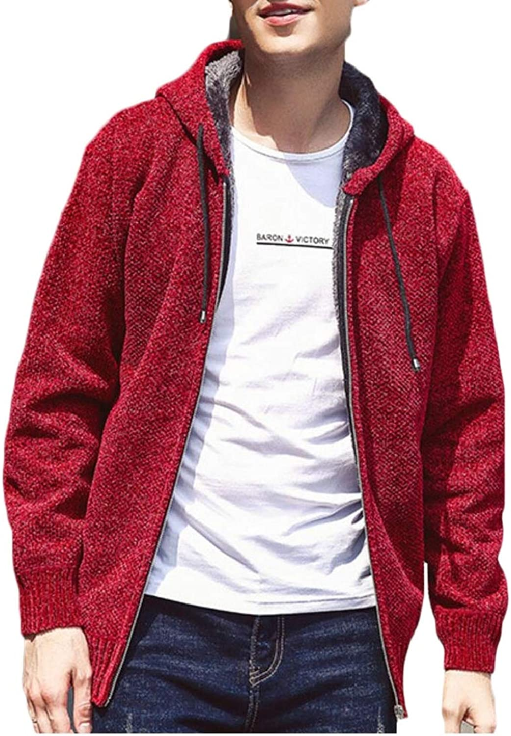 773e9892a411 TD-CACA Men Casual Casual Casual Fleece Lined Thicken Solid Knit Zip up  Hoodie Sweater Coat ea158f