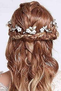 IYOU diadema nupcial con diseño de flores y perlas vides de pelo de hoja accesorios para el cabello de novia de boda para ...