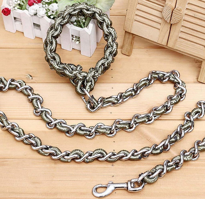 Dog Leash Rope Chain Large Dog Antibite Iron Chain NickelPlated AntiRust Collar,2,1.7m0.6cm