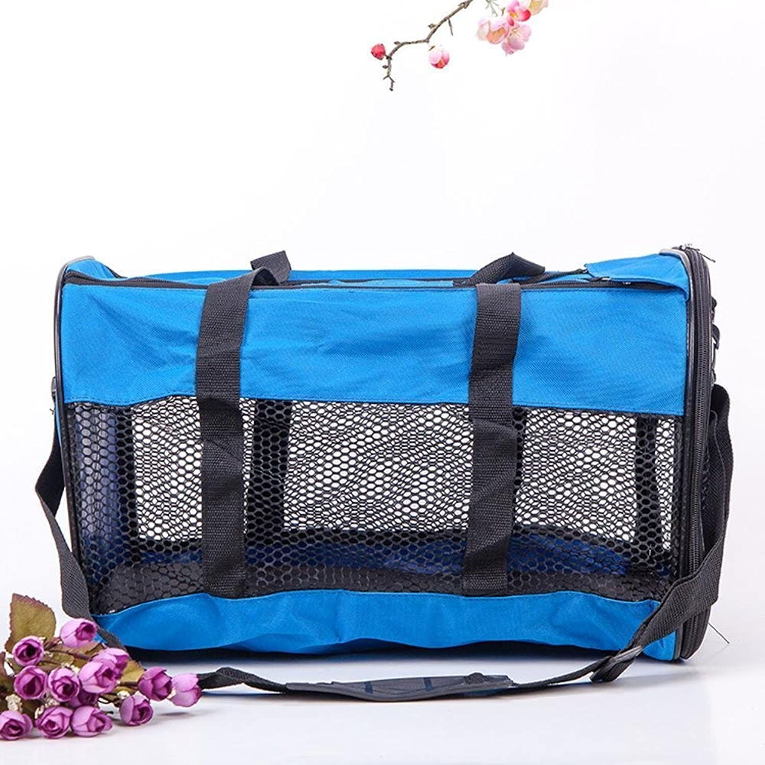 Kaxima Pet Carrier Backpack Go out for a trip hand messenger bag encryption Oxford Bouniron grid cloth 44x30x28cm