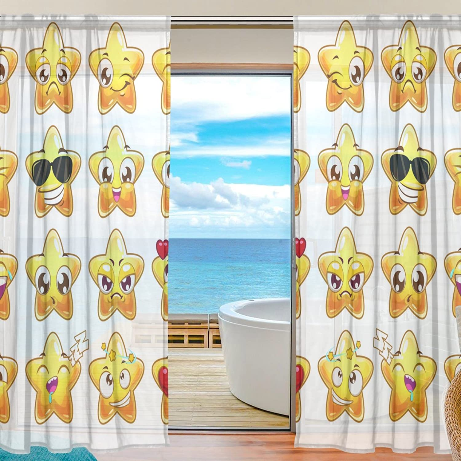 Vantaso Sheer Curtains 78 inch gold Stars Emoji for Kids Girls Bedroom Living Room Window Decorative 2 Panels