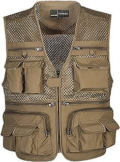Men's Mesh Breathable Openwork Camouflage Journalist Photographer Fishing Vest Waistcoat Jacket Coat