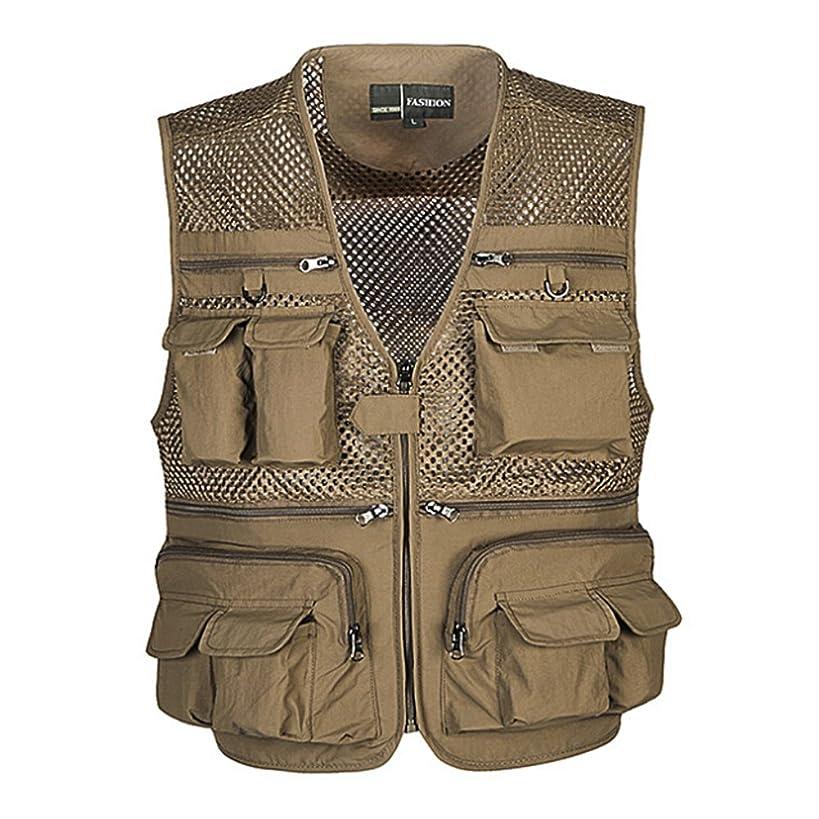 Ziker Men's Mesh Breathable Openwork Camouflage Journalist Photographer Fishing Vest Waistcoat Jacket Coat