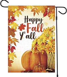 OTSUN Happy Fall Garden Flag - Maple Leaf Leaves Pumpkins 12 X18 Inch House Flags - Vertical Double Sided Burlap Autumn Harvest Thanksgiving Vintage Rustic Home Yard Outdoor Decoration